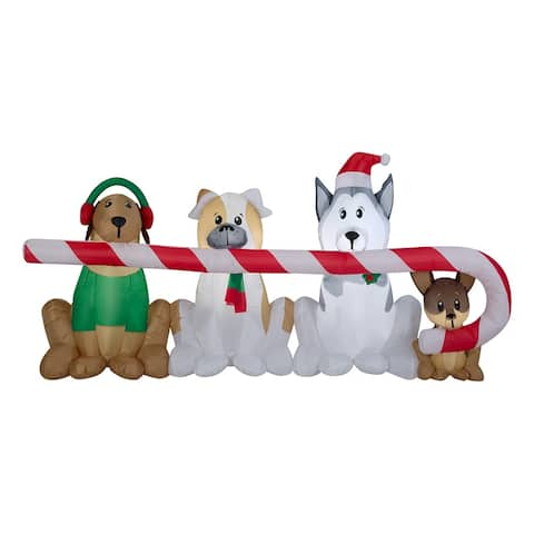 Inflatable Puppies with Candy Cane 8-foot display