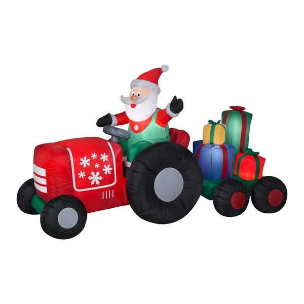8.5 ft. Inflatable Santa on Tractor. Opens flyout.