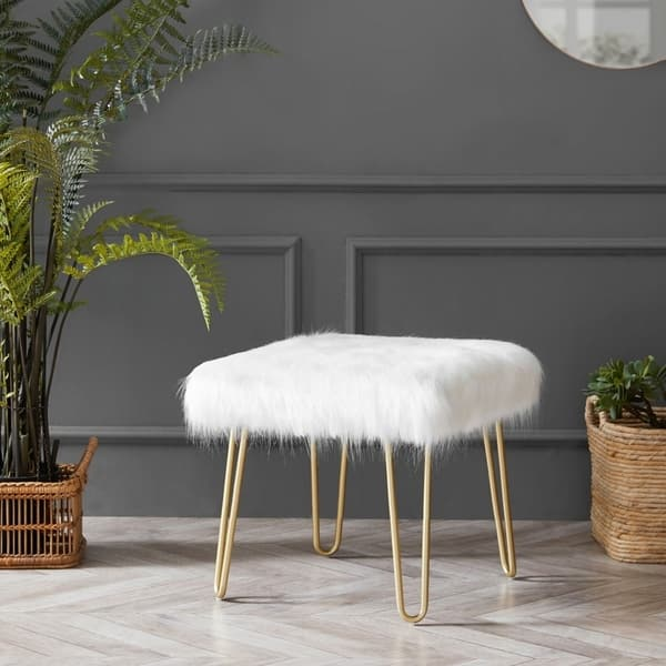 Peachy Shop Silver Orchid Brody Square Faux Fur Hairpin Ottoman Camellatalisay Diy Chair Ideas Camellatalisaycom