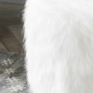 Kotter Home Round Faux Fur Hairpin Ottoman (White)