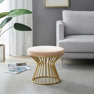 Kotter Home Round Ottoman / Stool with Metal Base (Chiffon)
