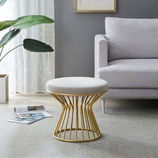Kotter Home Round Ottoman / Stool with Metal Base (Grey)