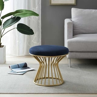Kotter Home Round Ottoman / Stool with Metal Base (Navy Blue)