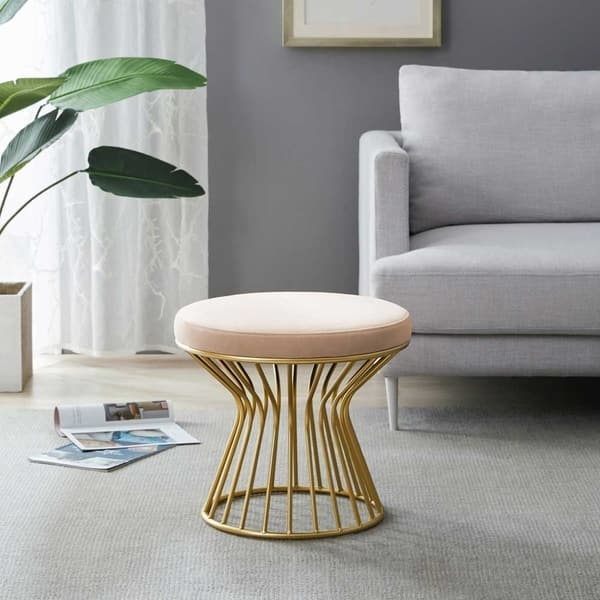 Strange Shop Silver Orchid Burkett Round Ottoman Stool With Metal Ibusinesslaw Wood Chair Design Ideas Ibusinesslaworg