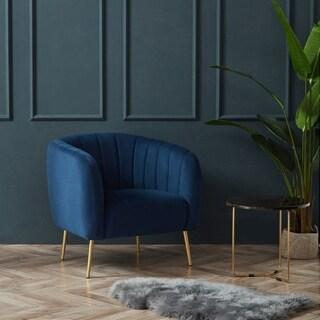 Kotter Home Velvet Channel Accent Chair (Blue Velvet)