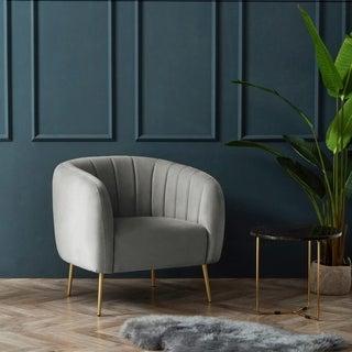 Silver Orchid Burbridge Velvet Channel Accent Chair