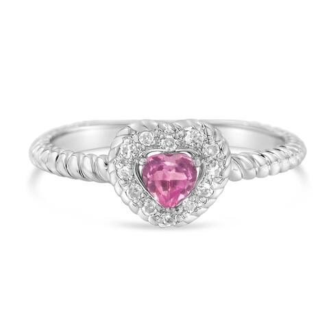 Sterling Silver 4MM Pink Sapphire Heart and Diamond Accent Heart Ring (I-J,I2-I3)