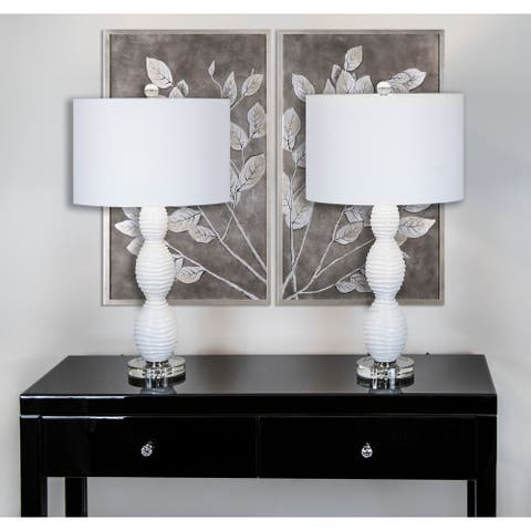 """Porch & Den Robinwood White Glass 28.75-inch Table Lamp Set W/ White Fabric Drum Shades - 29"""""""