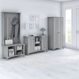Salinas Entryway Storage Set with Hall Tree, Shoe Bench and Cabinets (Grey)