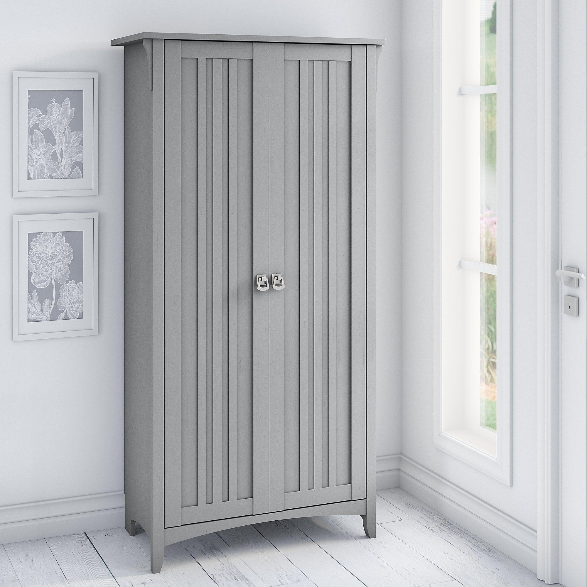 Bush Furniture Salinas Tall Storage Cabinet with Doors (White)