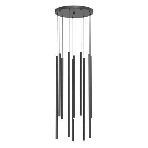 Light Chimes 10-Light Satin Black Assorted LED Cluster Pendant