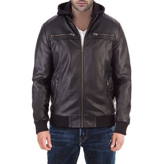 XRAY Men's PU Leather Hooded Bomber Jacket