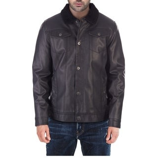 XRAY Men's PU Leather Jacket with Removable Sherpa Collar