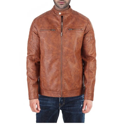 XRAY Men's PU Leather Jacket With Moto Detail