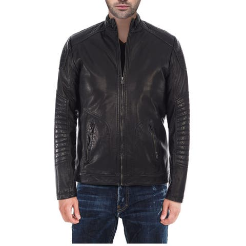 XRAY Men's Slim Fit PU Leather Jacket With Moto Detail