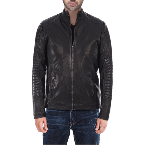 XRAY Mens Slim Fit PU Leather Jacket with Moto Detail