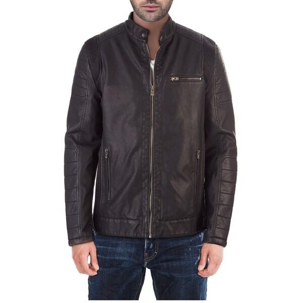 XRAY Mens Slim PU Leather Moto Jacket