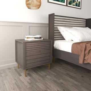 Hopper Studio Portland Grey 2 Drawer Night Stand