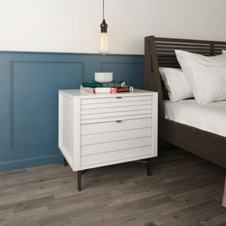 Hopper Studio Portland White 2 Drawer Night Stand