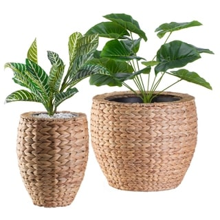 Water Hyacinth Round Floor Planter with Metal Pot