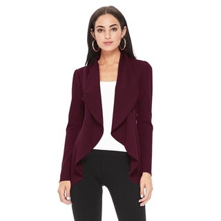 Solid Print Casual Long Sleeves Stretch Open Front Blazer Jacket