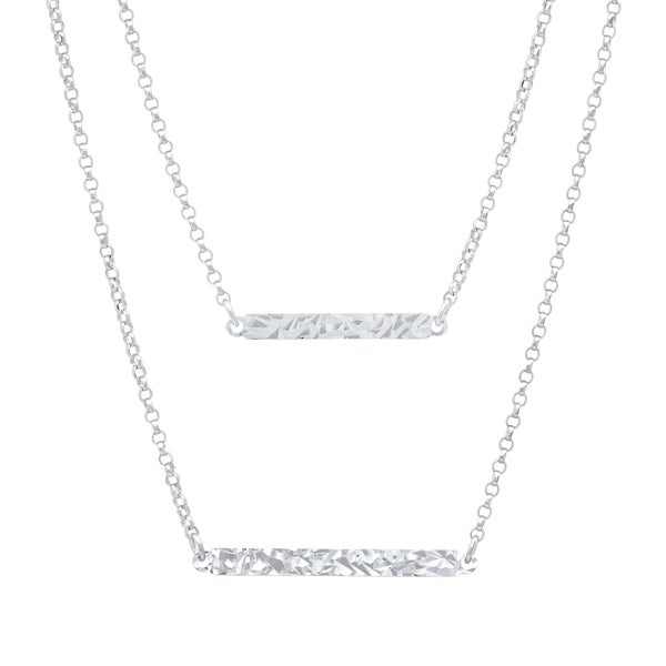 """Horizontal Pendant 18/"""" NEW Hammered Finish Bar Necklace 925 Sterling Silver"""