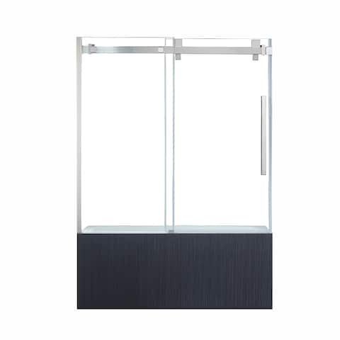 OVE Decors Chester 60 in. Satin Nickel Frameless Sliding Bathtub Door
