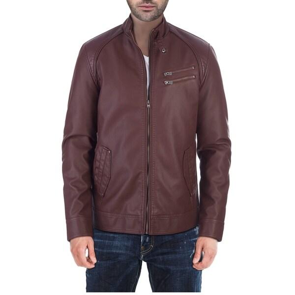 XRAY Mens Slim PU Leather Stand Up Collar Biker Jacket