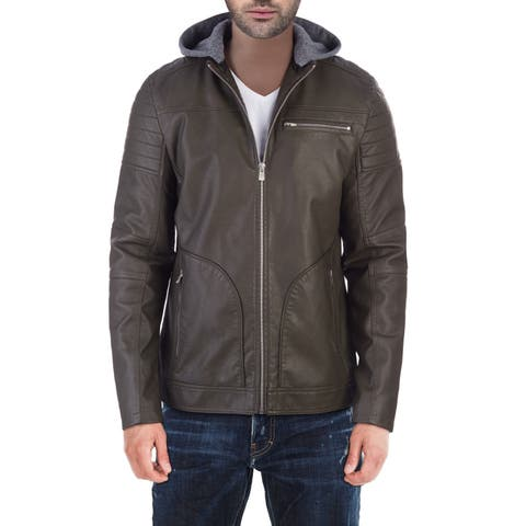 XRAY Men's Slim PU Leather Moto Jacket With Removable Hood