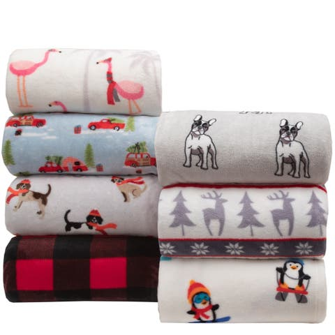 Winter Nights Print Plush Blankets