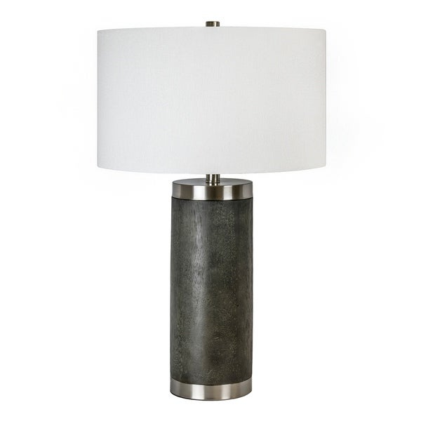"""26.5"""" Griffin Wood Poly Resin Table Lamp W/ White Fabric Drum Shade. Opens flyout."""