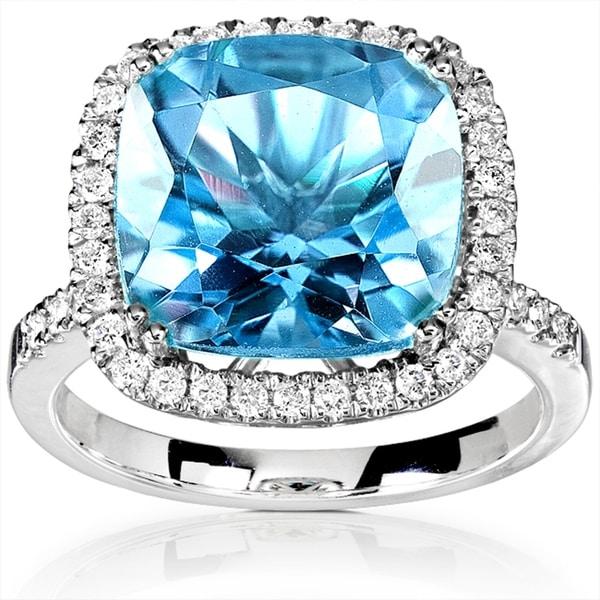 Annello by Kobelli 14k White Gold 1/3ct TDW Diamond Halo and Cushion Blue Topaz Ring