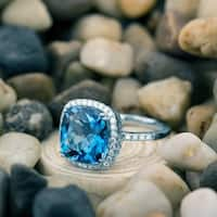 Annello by Kobelli 14k White Gold 1/3ct TDW Diamond Halo and Cushion Blue Topaz Ring