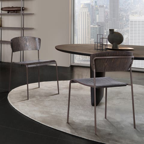 Nick Walnut and Metal Open Back Dining Accent Chairs (Set of 2)