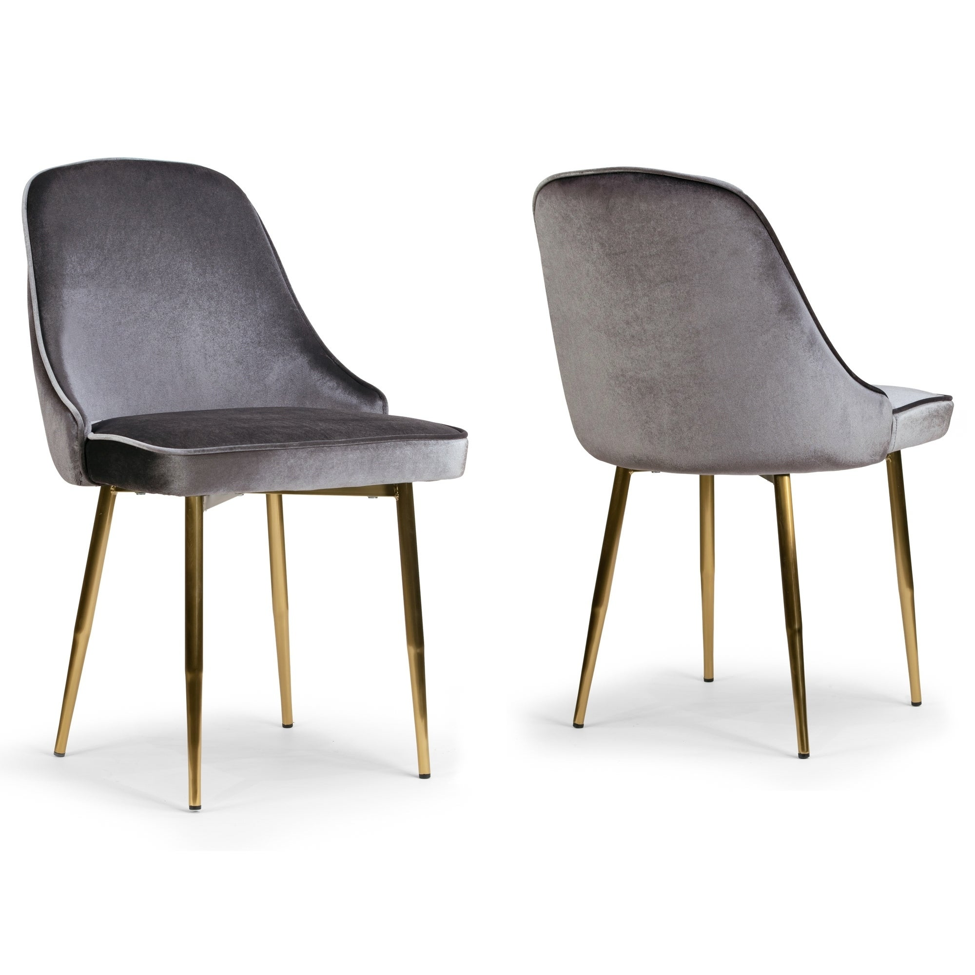 Set of 2 Alpha Sandy Brown Velvet Chair with Brushed Gold Steel Legs