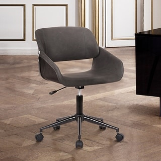 Lowell Mid-Century Grey Faux Leather Task Chair