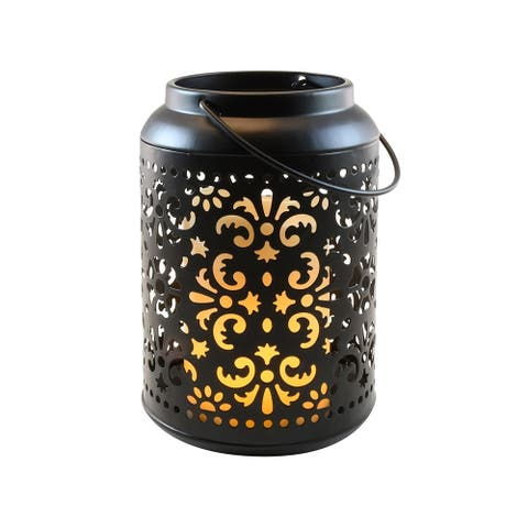 Porch & Den Marvin Black Metal Flame Effect Battery Operated Lantern