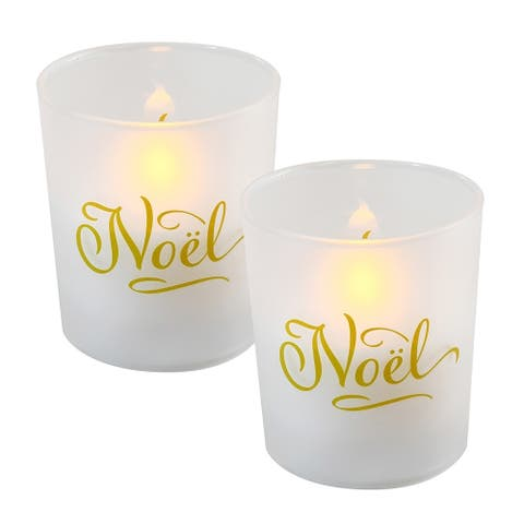 Battery Operated Glass LED Candles - Noel (Set of 2)