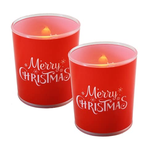 Battery Operated Glass LED Candles - Merry Christmas (Set of 2)