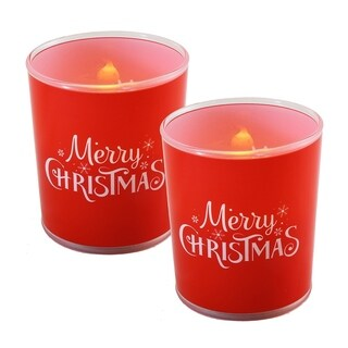 Battery Operated Glass LED Candles - Merry Christmas (Set of 2) - N/A
