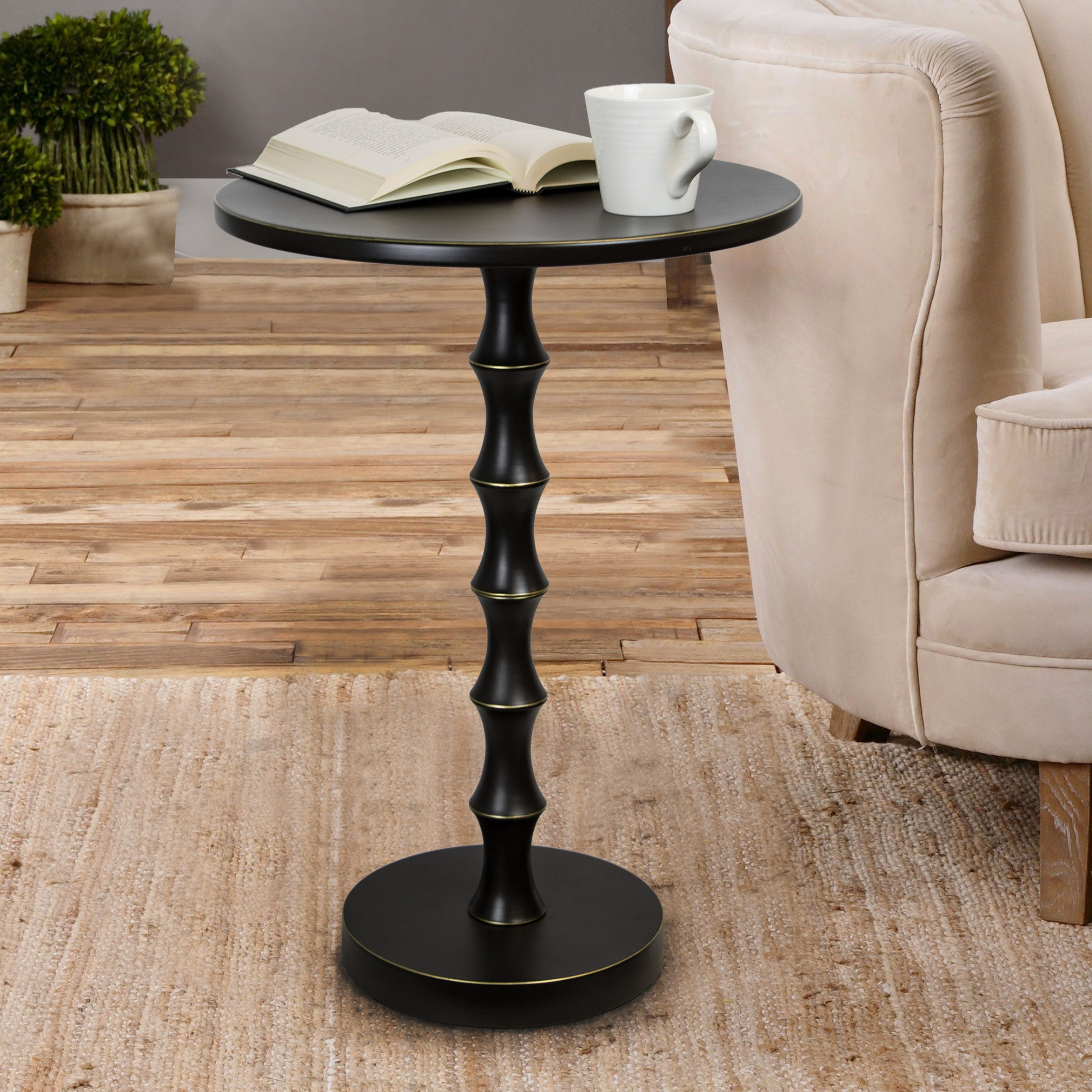 Picture of: Shop Copper Grove Kalulushi 26 75 Inch Oiled Rubbed Bronze Metal Accent Table Overstock 29209217