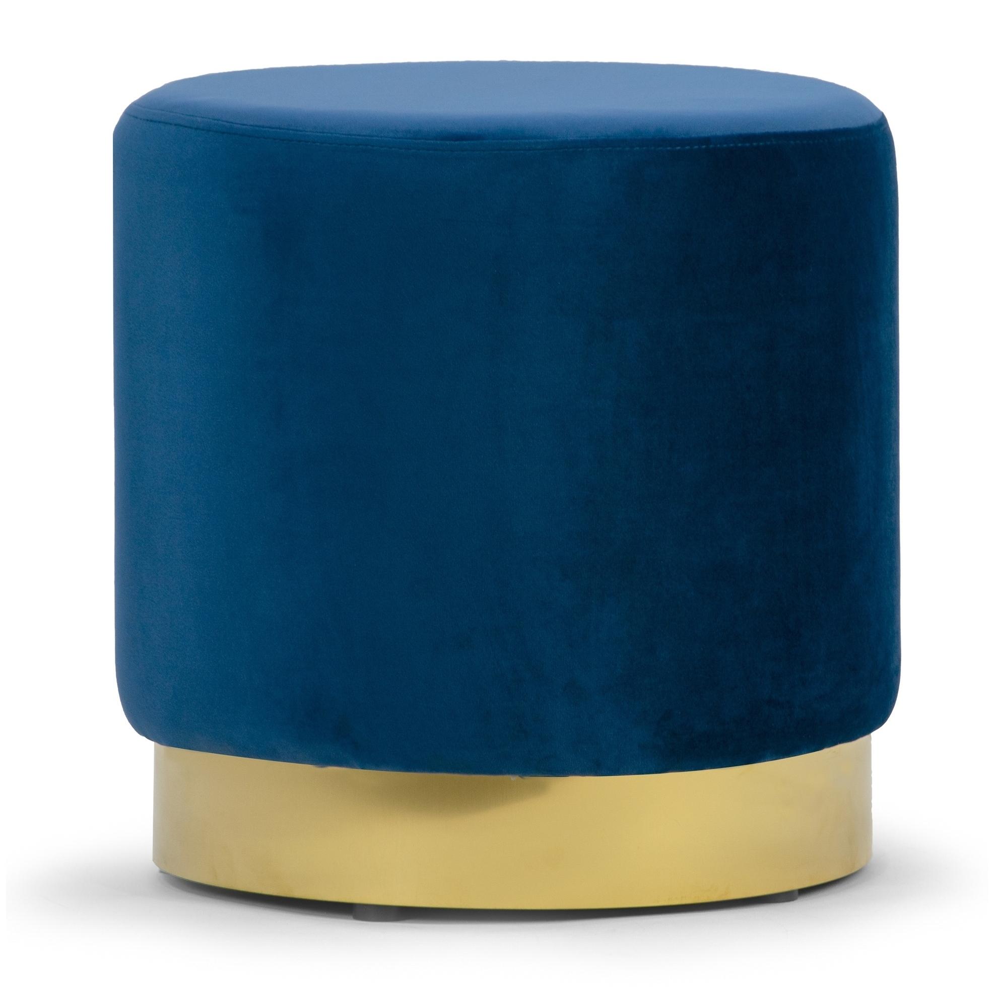 Anna Blue Velvet Round Footstool Ottoman Medium Size