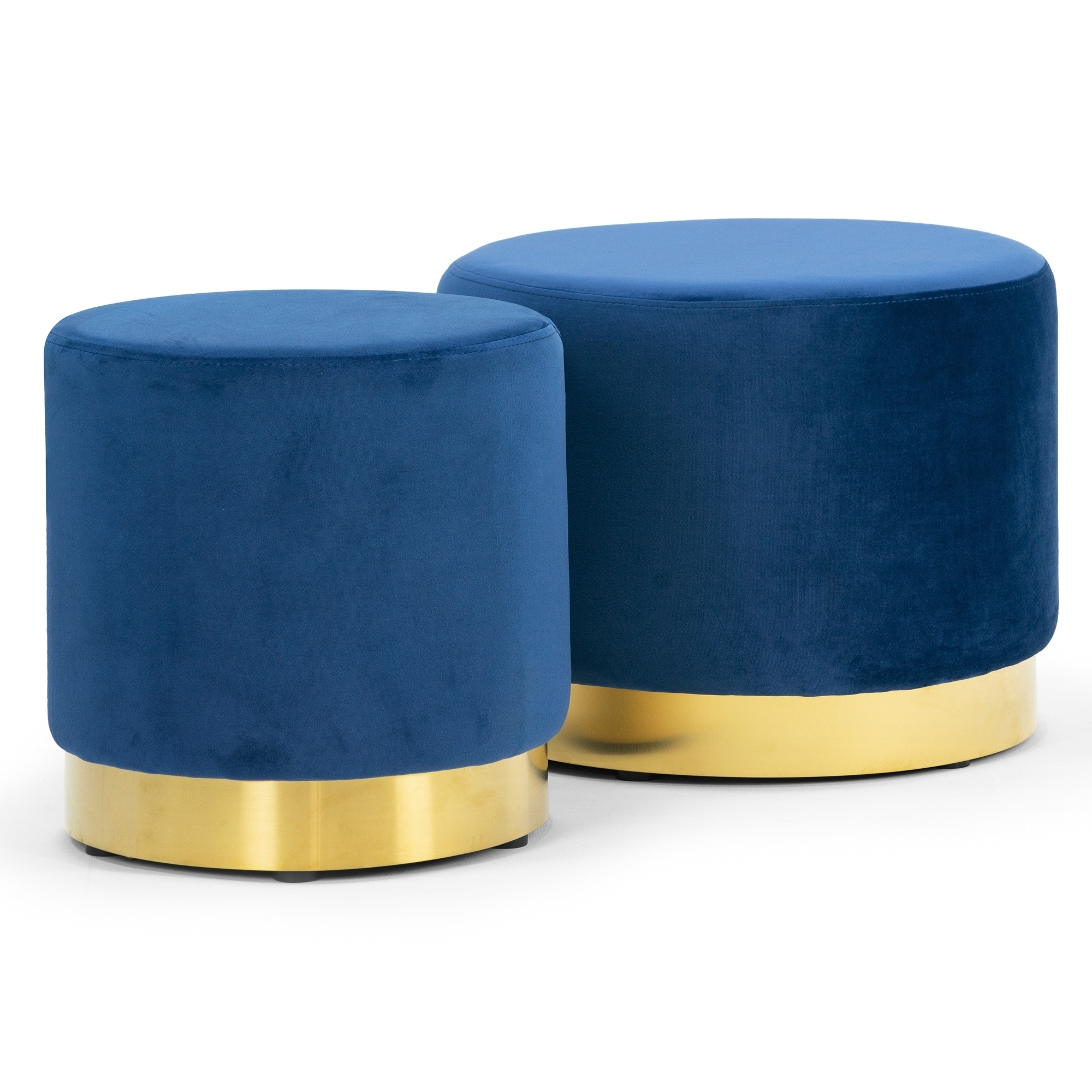 Anna Blue Velvet Round Footstool Ottoman Medium-Large Set