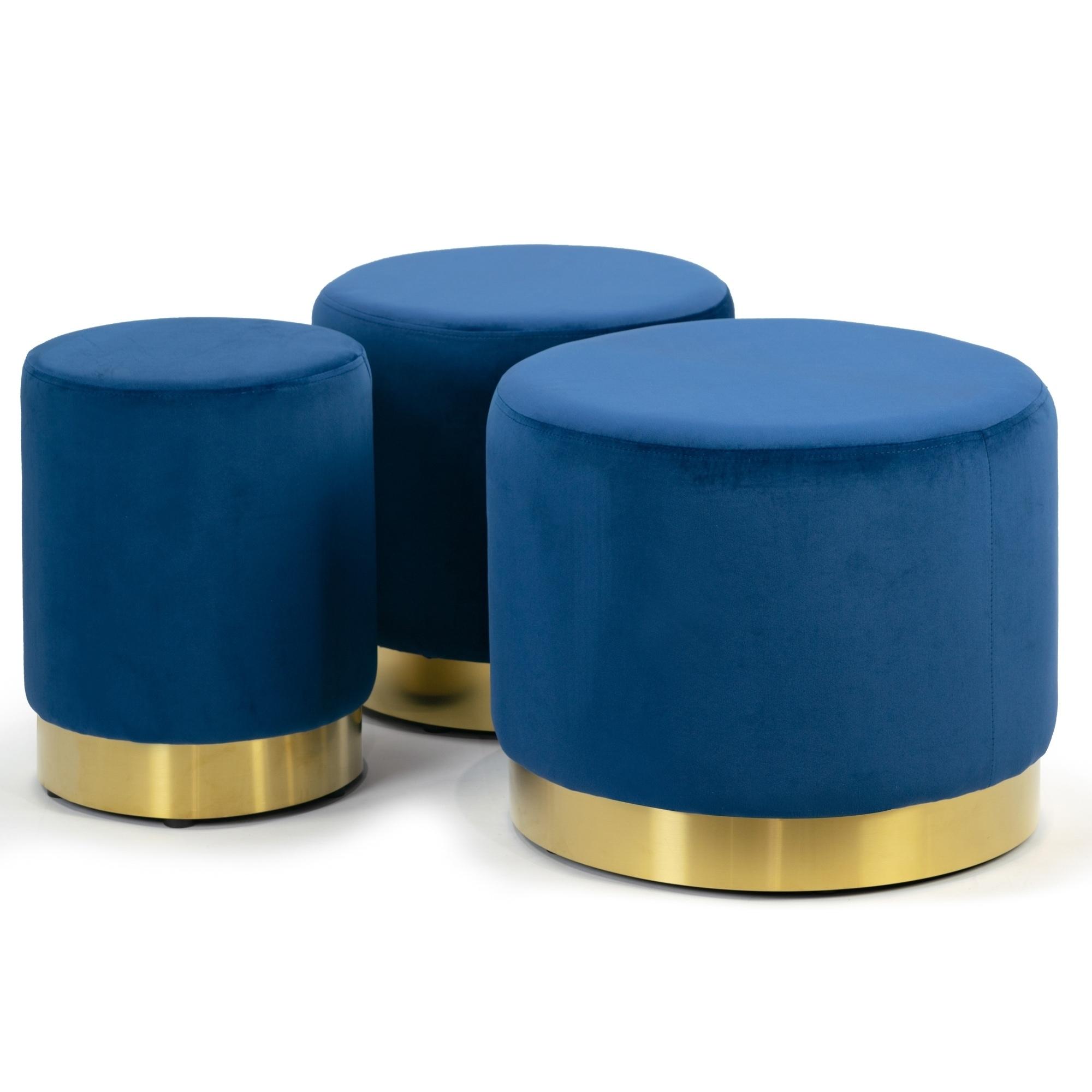 Blue Velvet Round Footstool Ottoman Small-Medium-Large Set