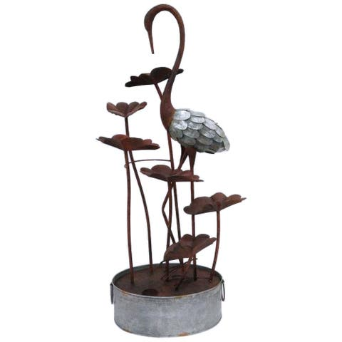 Metal Crane With Leaves In Pail Fountain