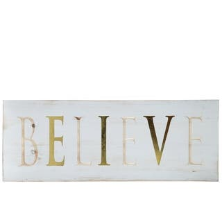 """UTC17407: Wood Rectangle Wall Art with """"BELIEVE"""" Carved Writing Design Distressed Finish White - N/A"""