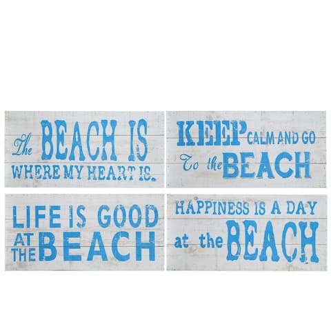 "UTC17400-AST: Wood Rectangle Wall Art with ""Coastal Beach Quotes"" Printed Distressed Finish White - N/A"