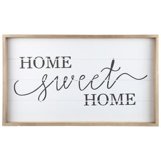 """UTC17100: Wood Rectangle Wall Art with Frame, Printed """"HOME SWEET HOME"""" Smooth Finish White - N/A"""