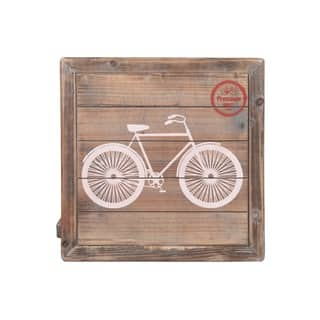 """UTC17714: Wood Square Wall Art with Printed """"Bicycle"""" Natural Finish Brown - N/A"""