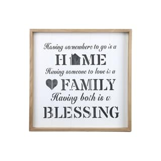 """UTC17121: Wood Square Wall Art with Printed """"Family Quote"""" Painted Finish White - N/A"""